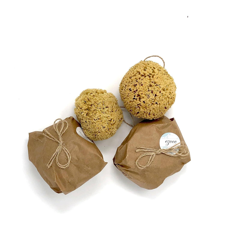 2x ungebleicht Honeycomb Natural Sea Schwämme groß–Pack von zwei 14cm + 10cm Ezooc