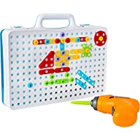 Drill & Design Creative Play Educational Toy With Real Toy Drill - Mosaic Design Building Toys Tool Kit