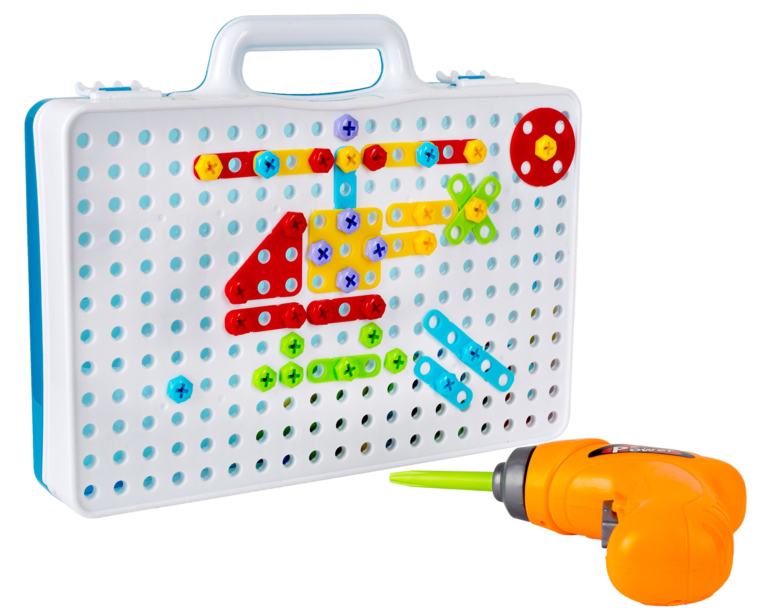 Drill & Play Creative Educational Toy With Real Toy Drill - Mosaic Design Building Toys Tool Kit by Big Mo's Toys
