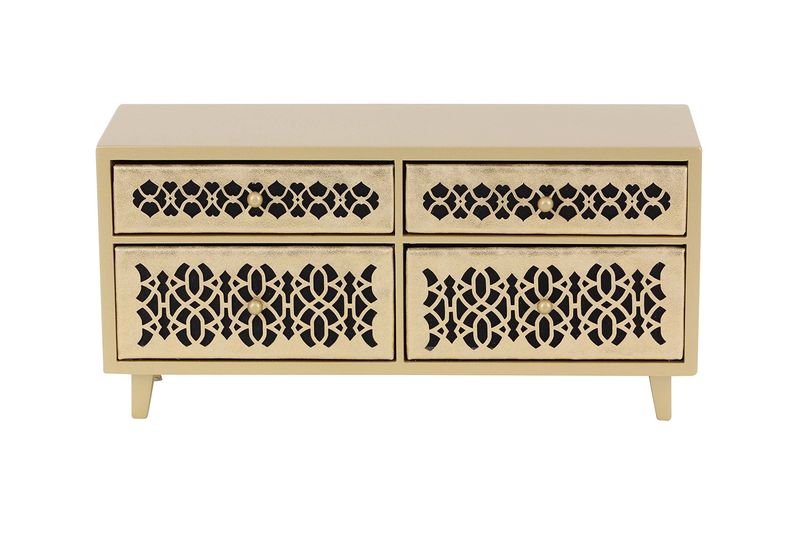 Deco 79 82181 Wooden 4-Drawer Jewelry Chest, 7'' x 15'', Gold/Black by Deco 79 (Image #1)