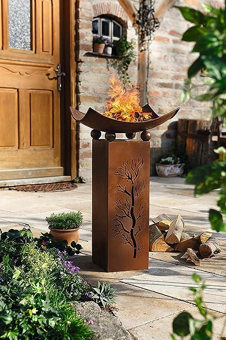 Metall Deko Saule Feuerschale 75cm Hoch In Rost Optik Garten