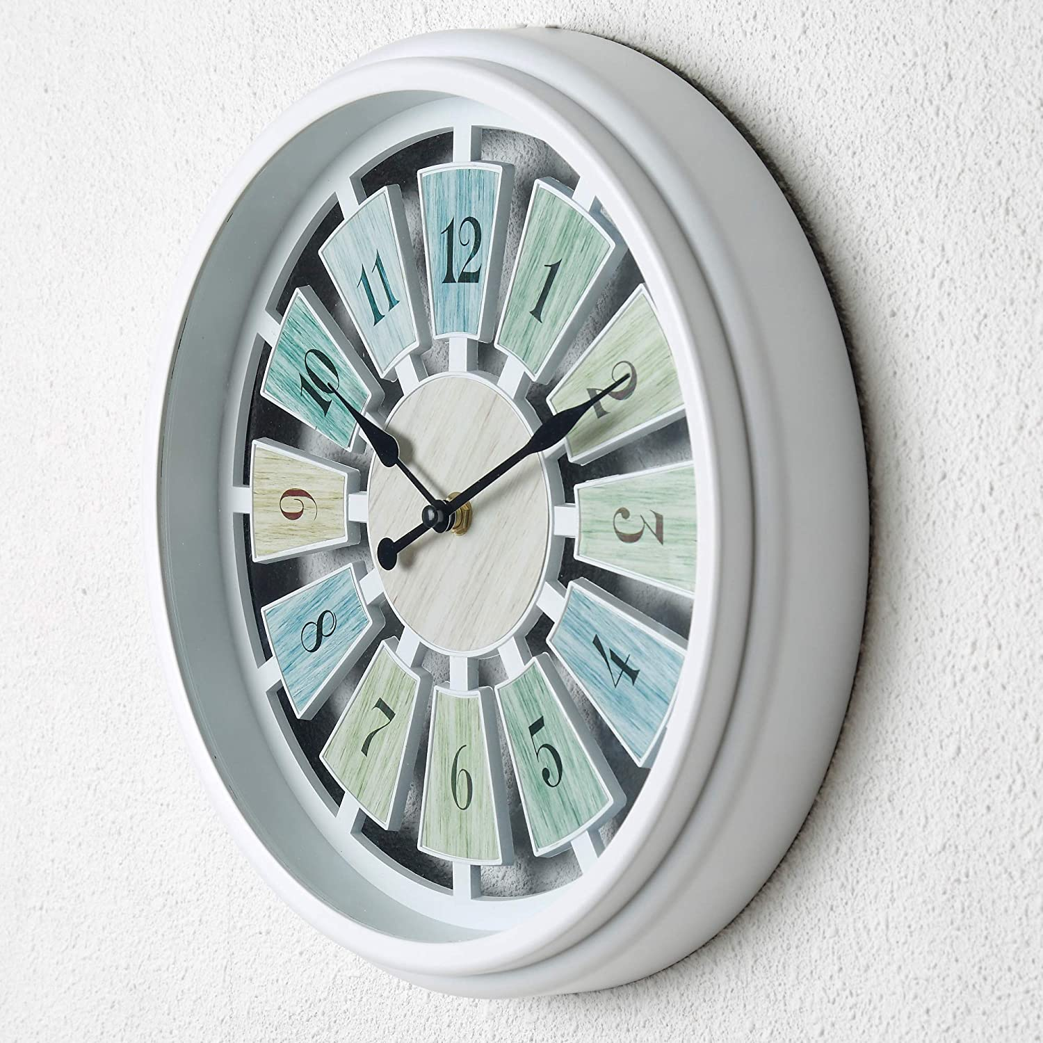 "Tiords Decorative White 12"" Analog Quarts Farmhouse Living Room Wall Clocks, Battery Operated for Kitchen Office Decor Walls"