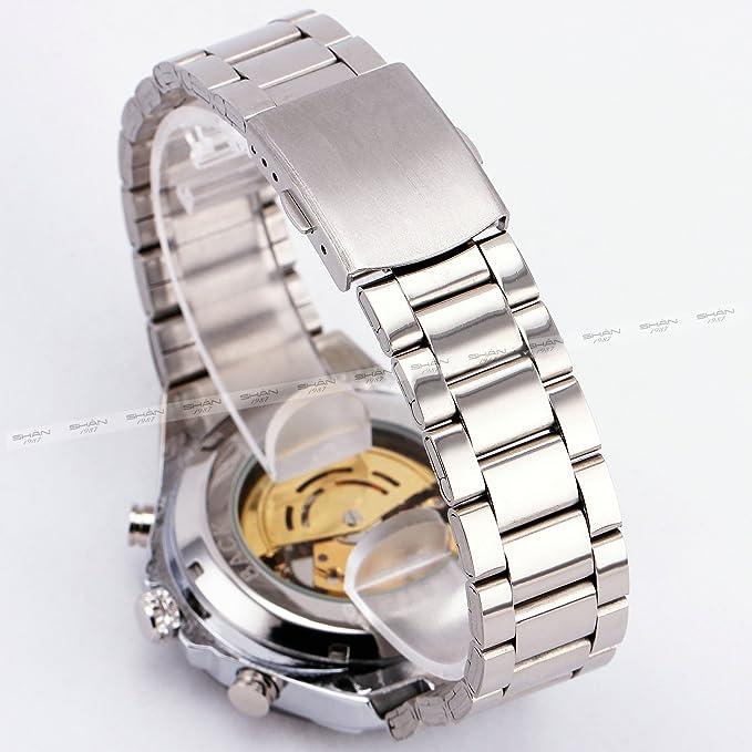 Amazon.com: Winner Men Automatic Mechanical Wrist Watch Skeleton Stainless Steel Strap Luxury Vintage Oversize Design +Box: WINNER: Watches