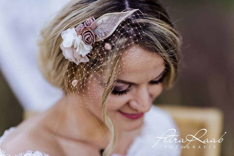 M11 Braut Kopfschmuck Fascinator Hochzeit Schleier Blü te Haarschmuck beige Blumenkranz Boho Hochzeit Deko Etno Style