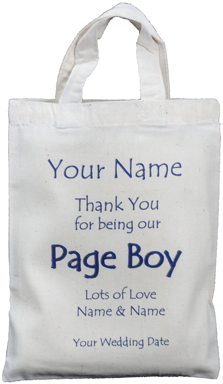Personalised - PAGE BOY - Small Natural Cotton Wedding Favour / Gift ...