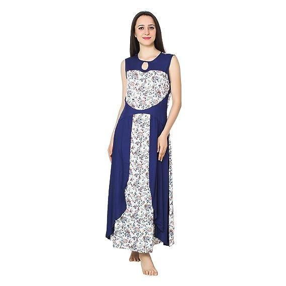 Patrorna Women s Half Robe Style Bodycon Nighty Night Dress Gown in Navy  Print(Size S 83de10dbe