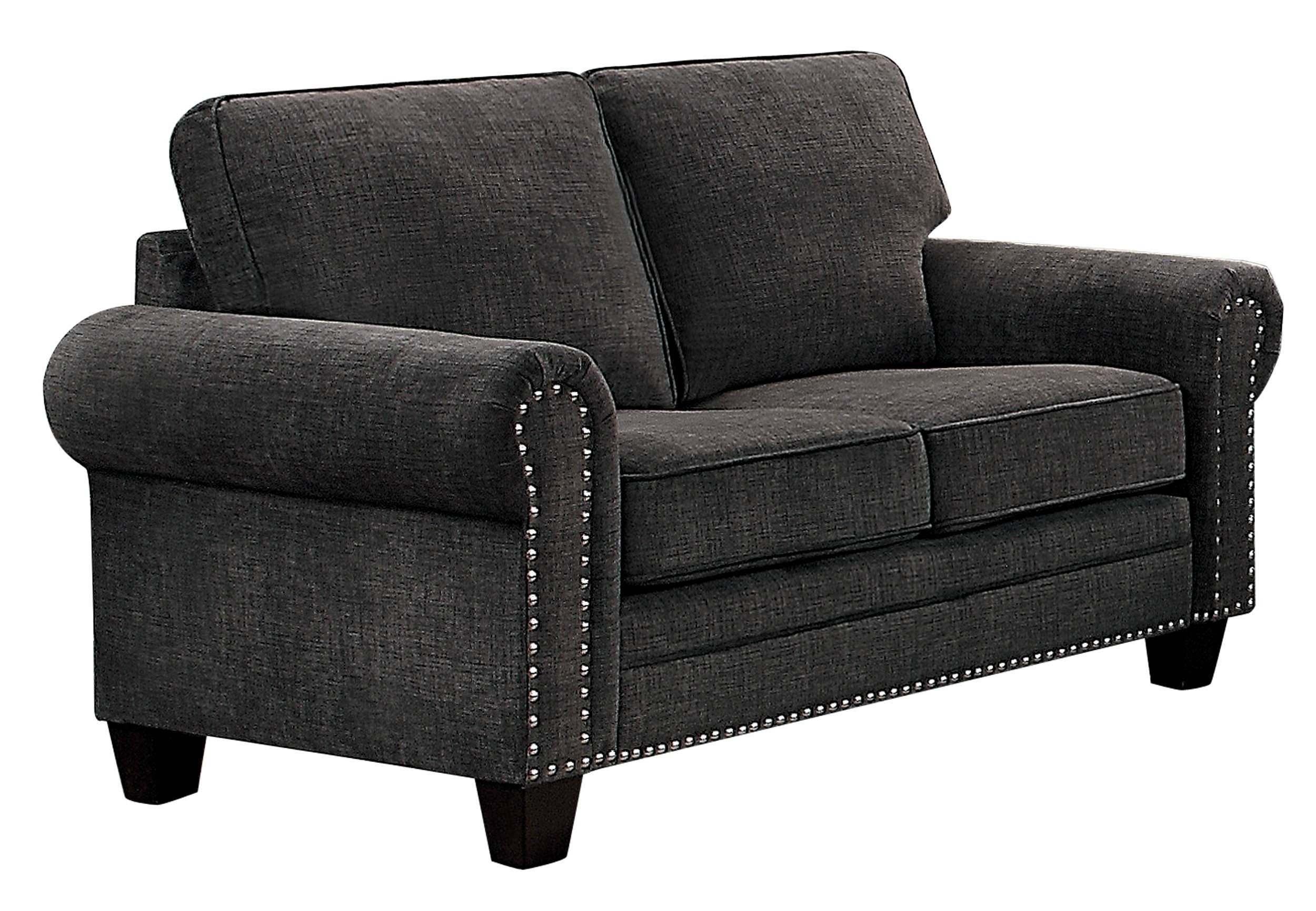 Homelegance Cornelia Rolled Arm Loveseat with Nail Head Accent Polyester Fabric Cover, Dark Grey