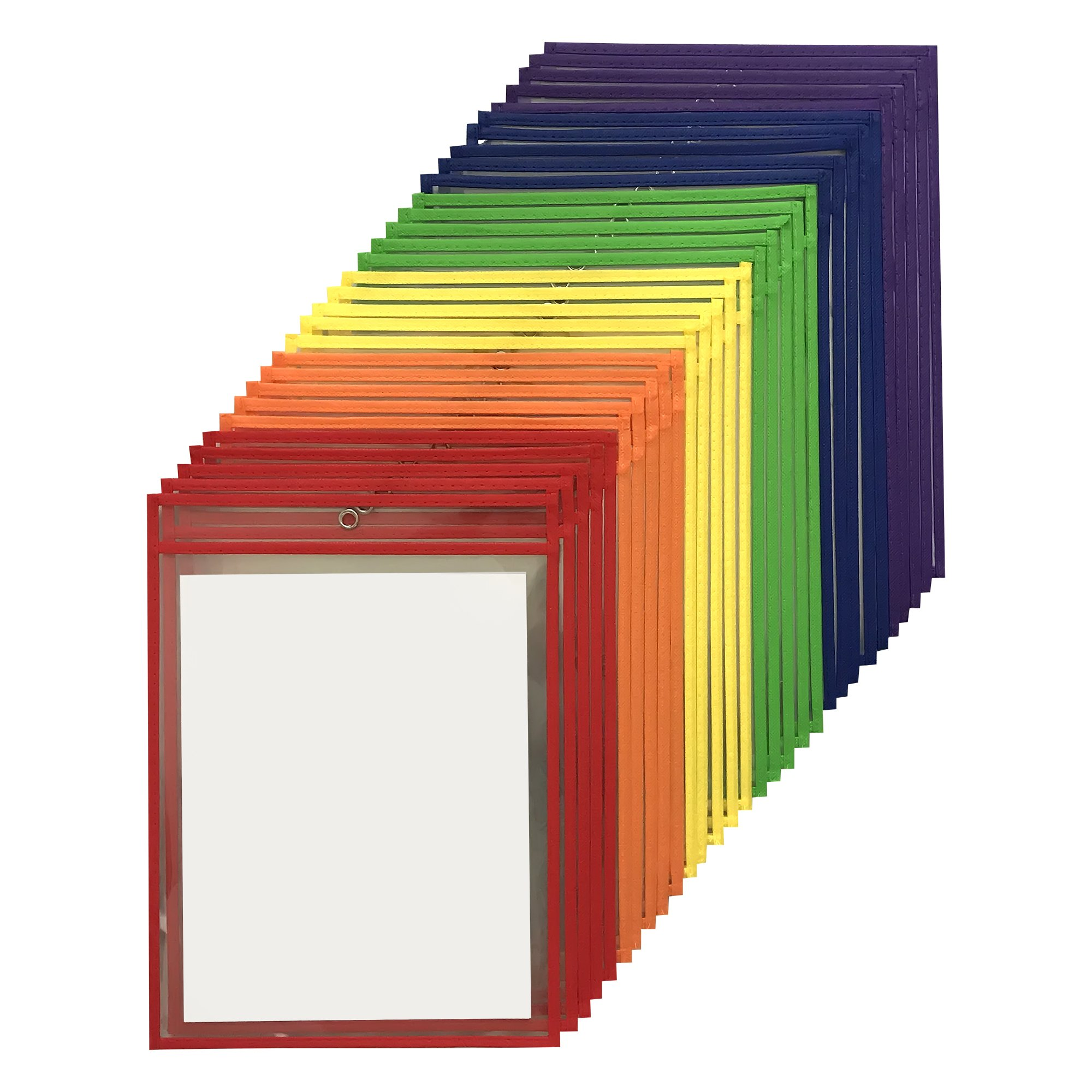 """30 Pack Dry Erase Pockets – Assorted Colors – By Essex Wares – For Teacher Lessons in a Classroom or For Use at Your Home or Office – Fits Standard 8.5"""" X 11"""" Paper"""