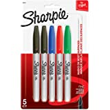 Sharpie Permanent Markers, Fine Point 5-Count 5-Count Assorted Colors