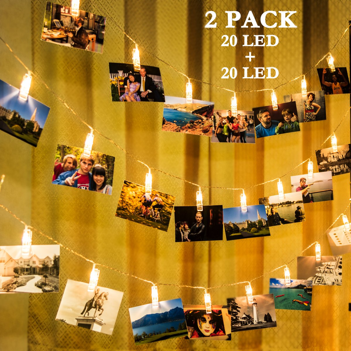 GIGALUMI 2 Pack Photo Clips String Lights, 20ft 20 LED Indoor Fairy String Lights for Hanging Photos Pictures Cards and Memos, Ideal Gift for Bedroom Decoration (USB Powered, Warm White)