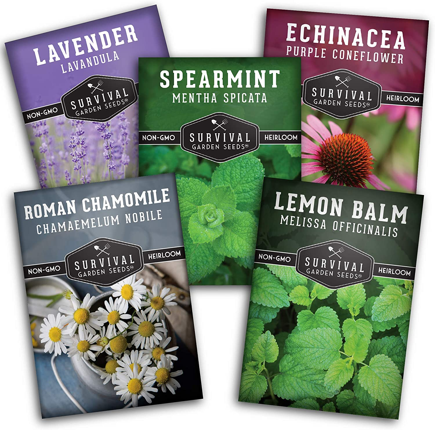 Survival Garden Seeds Herbal Tea Collection Seed Vault - Lavender, Mint, Echinacea, Lemon Balm, Parsley, Roman Chamomile - Non-GMO Heirloom Seeds for Planting & Growing