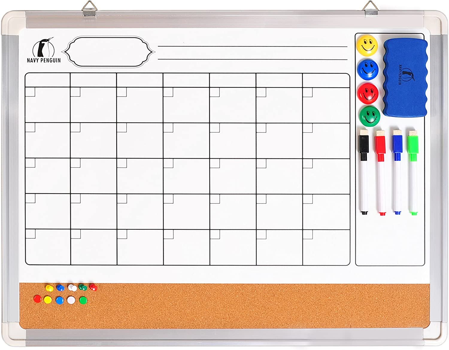 Navy Penguin Whiteboard Monthly Planner 24 X 18 In Magnetic Calendar Dry Erase Cork With Eraser 4 Dry Wipe Pens 4 Magnets And 10 Pins White Organiser Board For Wall Kitchen
