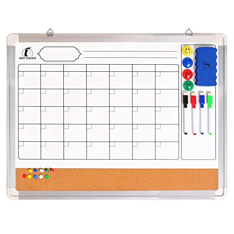 Whiteboard Monthly Wall Calendar Set - Magnetic Planner Dry Erase/Cork Board 24 x 18 in + 1 Magnetic Eraser, 4 Colorful Dry Wipe Markers, 4 Magnets ...
