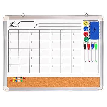 Set Calendario de Pizarra Blanca/Tablero de Corcho - Calendario de Pared Mensual de 60 x 45 cm + 1 Borrador Magnético, 4 Rotuladores Borrado en Seco, ...