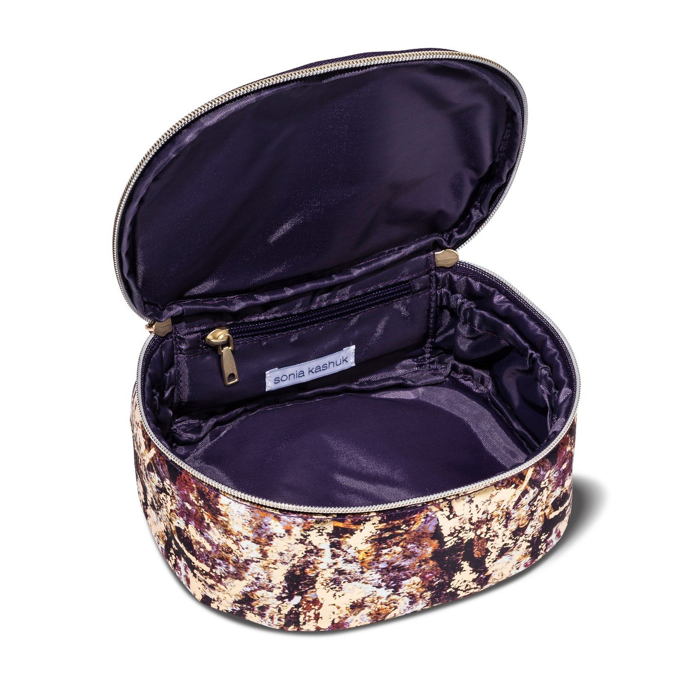 Sonia Kashuk153; Cosmetic Bag Saddle Bag Distress Floral with Foil MULTI-COLORED