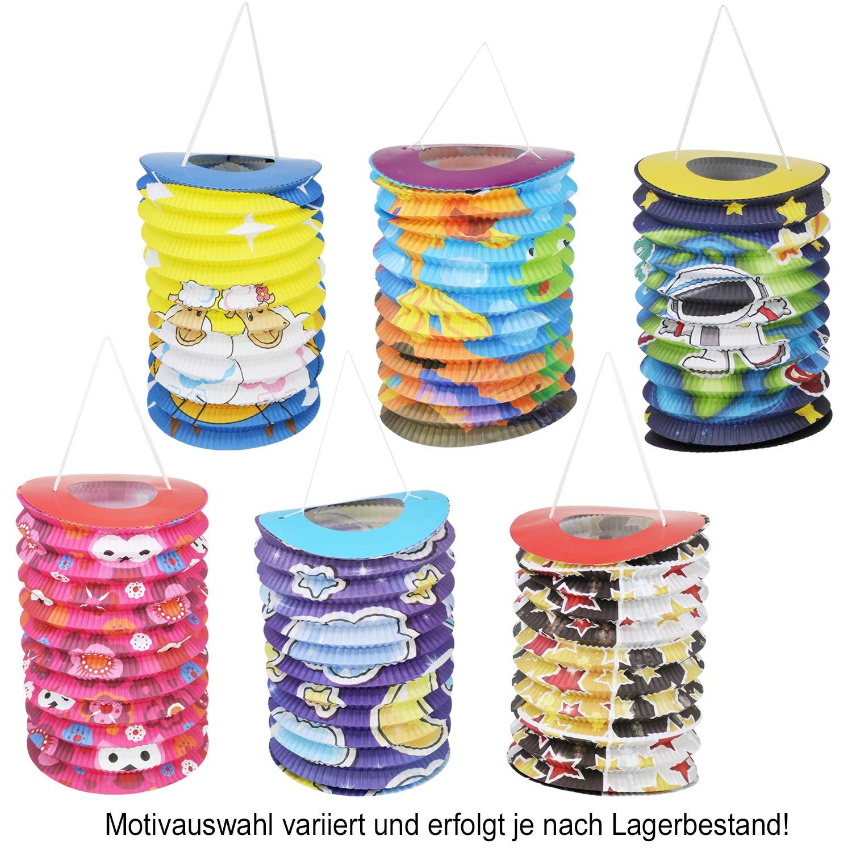 la s/élection varie /Ø 15 cm 03 Morceaux - m/élange cylindrique com-four/® 3X Lanterne en Papier pour Enfants dans diff/érents Motifs Lanterne pour Enfants