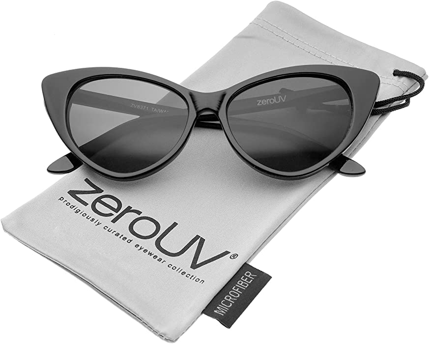 dd7ca005b6 zeroUV - Women s Retro Oversized High Point Cat Eye Sunglasses 54mm  (Black Smoke)