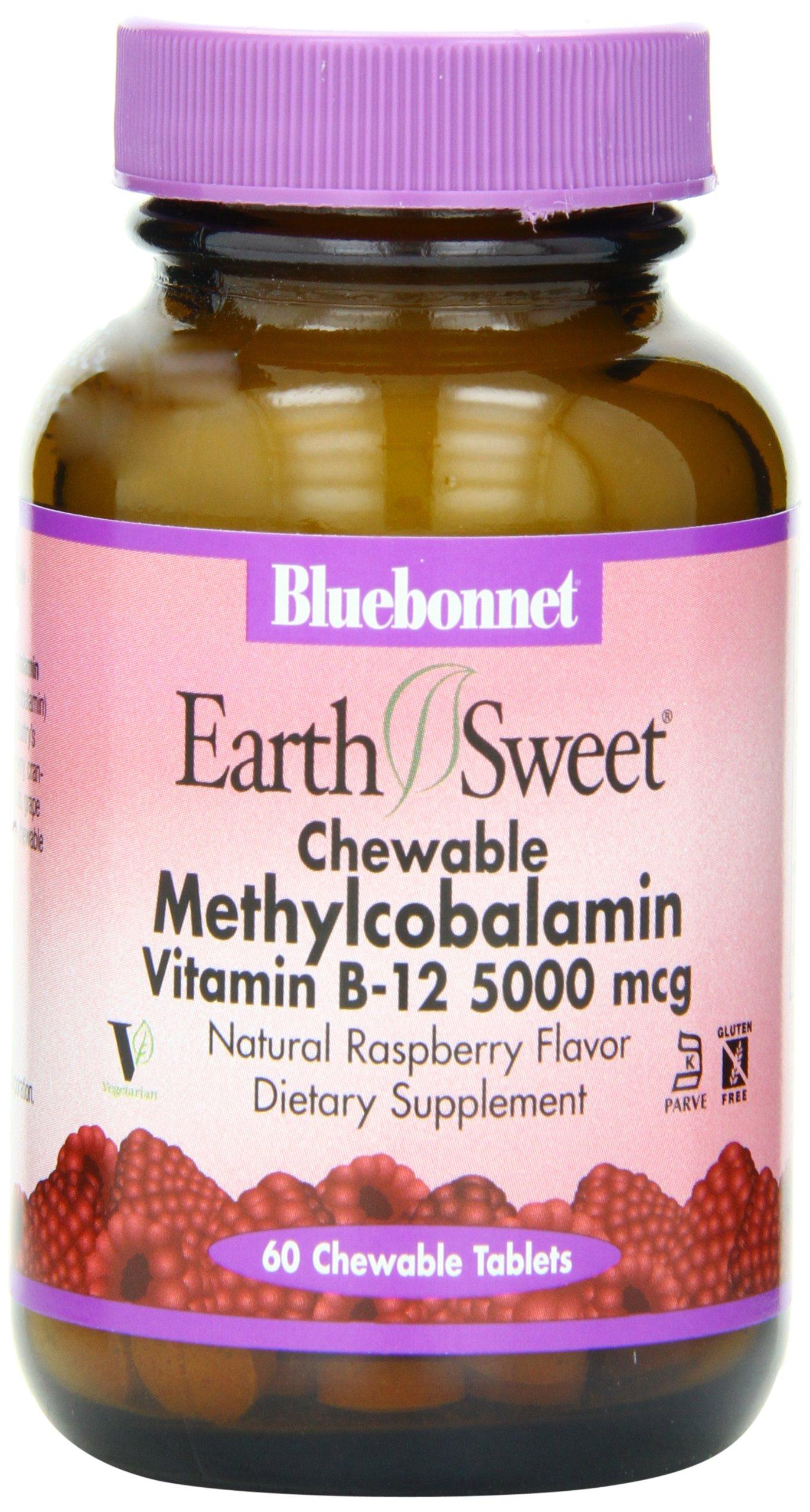 BlueBonnet Methylcobalamin Vitamin B-12 5000 mcg By - 60 Chewable Tablets
