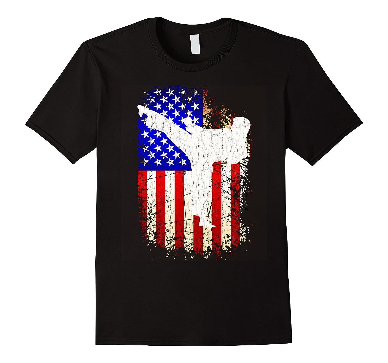 4th of July Karate Shirt Patriotic American Flag T-Shirt-PL