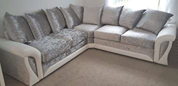 SOFAS AND MORE Shannon Corner 3+2 Seater Leather And Crushed Velvet Fabric  White And