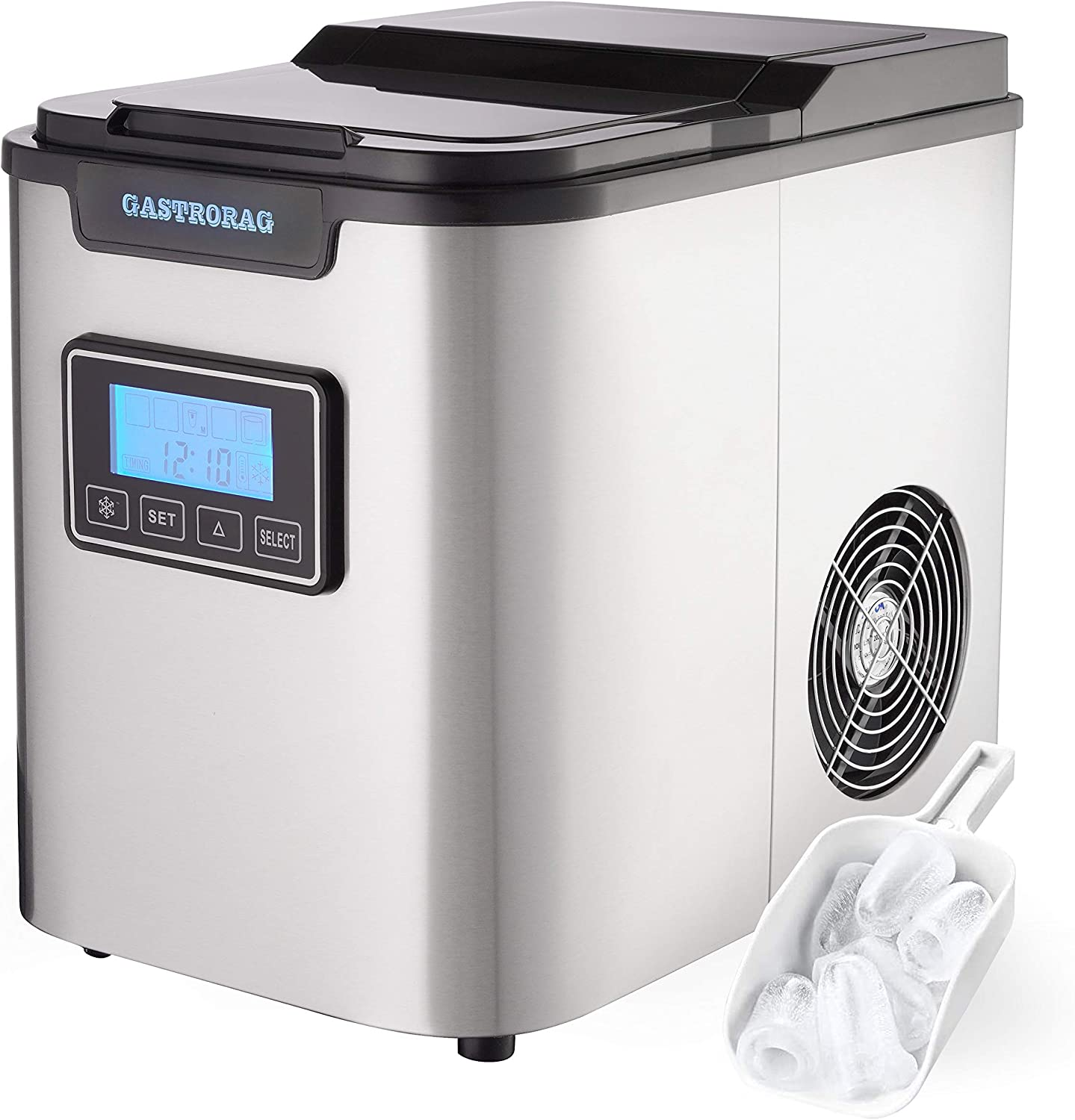 Gastrorag Large Capacity Stainless Steel Automatic Portable Electric Countertop Ice Maker Machine 26lbs 24h 9 Cubes Ready In 10 Minutes 3 Types Of Ice Size With Scoop And Basket Appliances