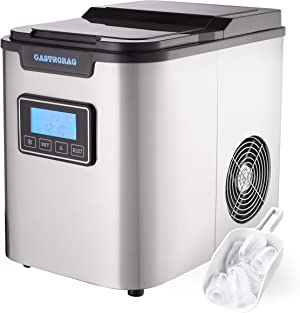 Gastrorag Large Capacity Ice Maker STAINLESS STEEL, 26 lbs in 24 hours, Digital Ice Machine with LED DISPLAY, 3 Sizes of Ice (S/M/L), for Soft Drinks & Cocktails