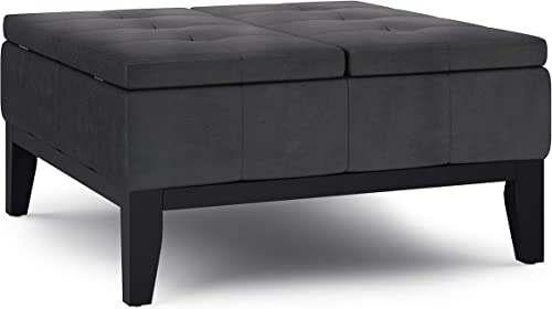SIMPLIHOME Dover 36 inch Wide Contemporary Square Coffee Table Storage Ottoman