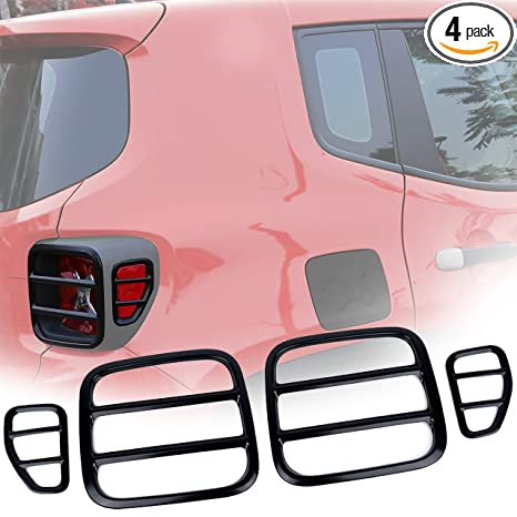 Nice EnRand Jeep Renegade Tail Light Cover, Black Anti Oxidation Metal Taillight  Rear Lamp Protector