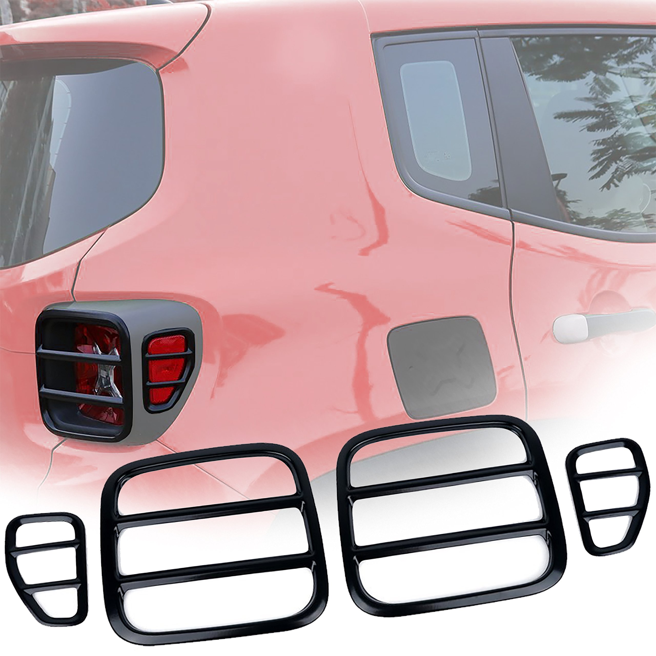EnRand Jeep Renegade Tail Light Cover, Black Anti-Oxidation Metal Taillight Rear Lamp Protector Guard Cover for Jeep Renegade 2015 2016 2017 2018