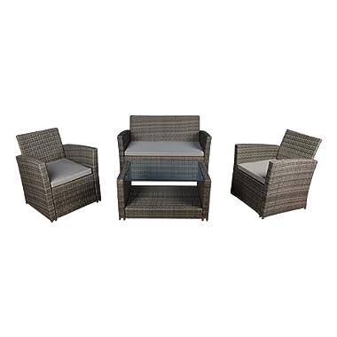 Modern Outdoor Garden, Patio 4 Piece Set - Wicker Sofa Furniture Set (Grey/Grey)
