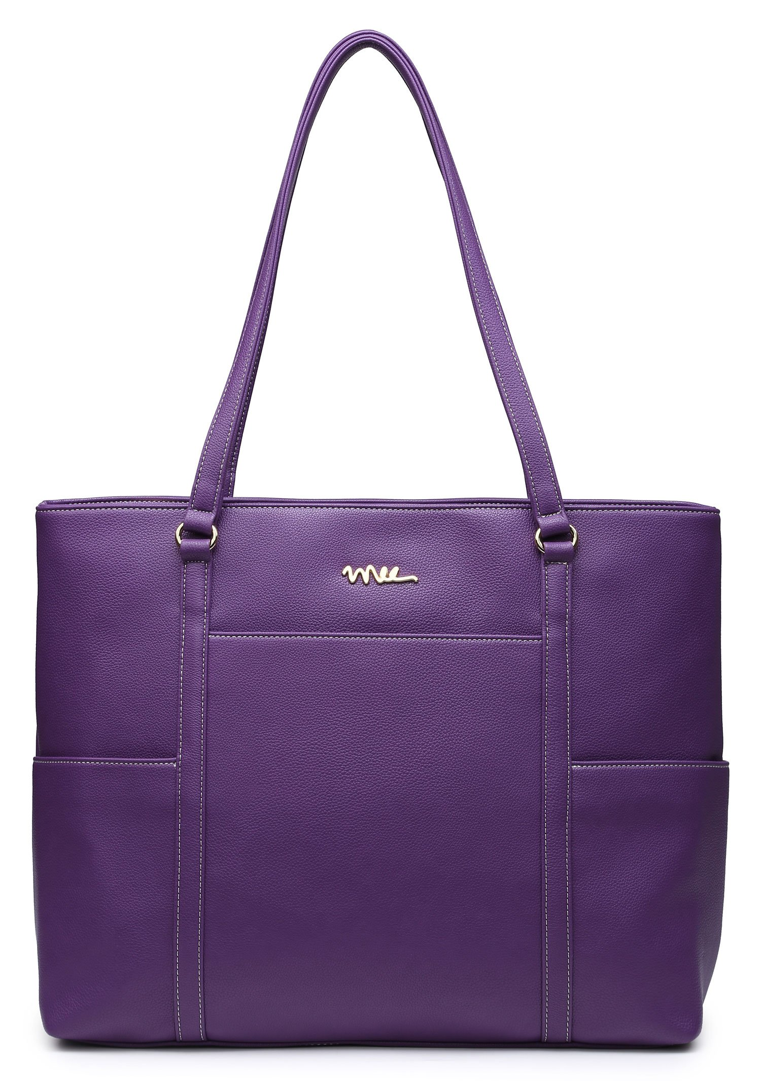NNEE Classic Laptop Leather Tote Bag for 15 15.6 inch Notebook Computers Travel Carrying Bag with Smart Trolley Strap Design - Purple