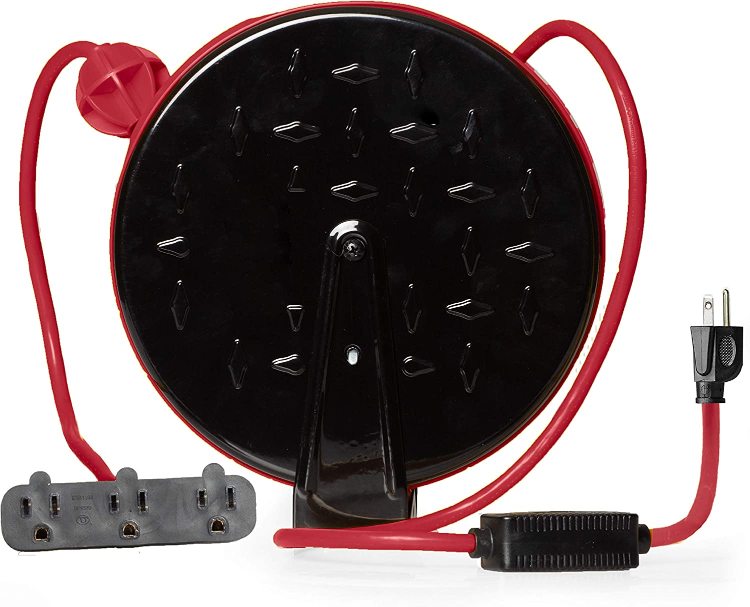 30Ft Retractable Extension Cord Reel with Breaker Switch & 3 Electrical Power Outlets - 16/3 SJTW Durable Red Cable - Perfect for Hanging from Your Garage Ceiling