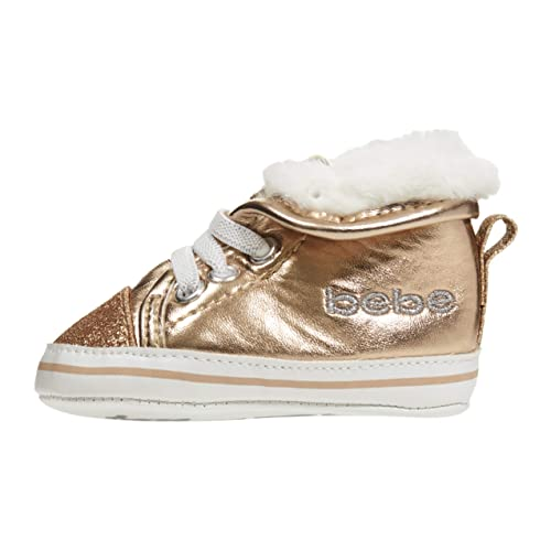 6657b6520d0f bebe Infant Girls Sneakers Size 2 with Glitter and Collars Sherpa Shoes  Rose Gold