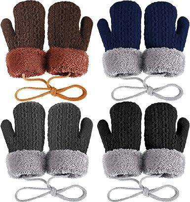 4 Pairs Winter Kids Knit Mittens Thicken Plush Warm Woolen Gloves with String