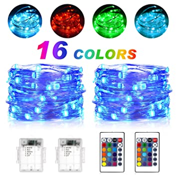 Amazon sunnest waterproof string lights outdoor led string sunnest waterproof string lights outdoor led string lights fairy lights battery operated 16 colors workwithnaturefo