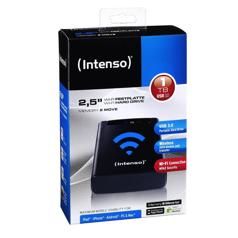 5400rpm, 8MB Cache, USB 3.0 schwarz 2,5 Zoll 6,4 cm Intenso Memory 2 Move externe Festplatte mit WiFi 500GB