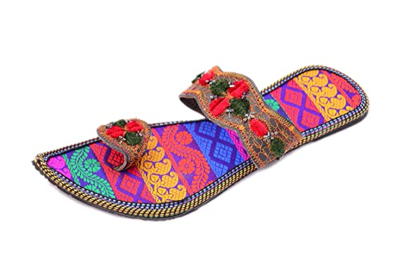 Myra Women's Multicolor Flats Ethnic Footwear at amazon