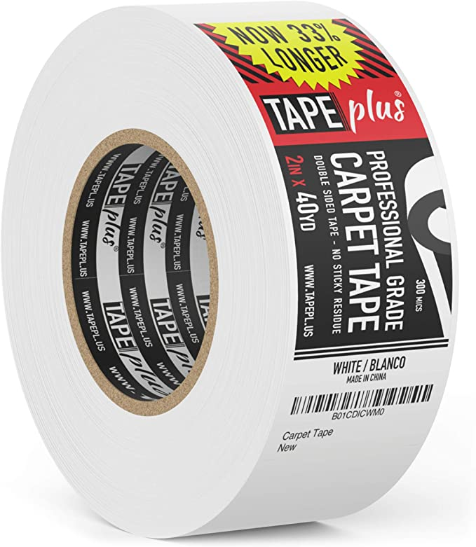 CT152 LLPT Double Sided White Carpet Tape 1.5 Inches x 20 Yards Multiple Sizes Available Residue Free Removable Heavy Duty Adhesive for Area Rugs Hardwood Floors Stair Treads Carpet