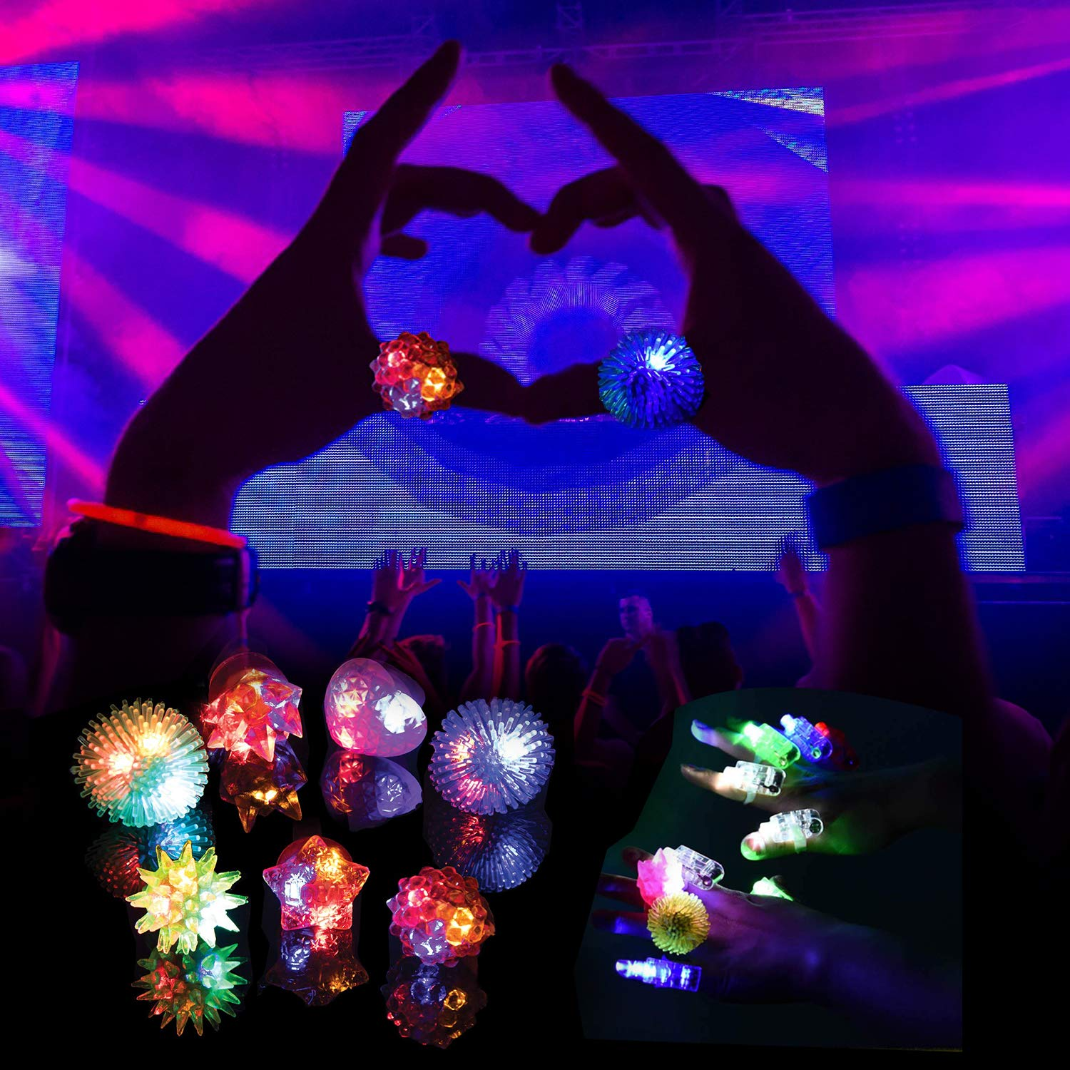 68 Pack LED Light Up Toys Halloween LED Glow Party Favors for Kids Glow in the Dark Party Supplies 4 Flashing Slotted Shades Glasses 10 Glow Rings 50 LED Finger Lights 5 LED Bracelets Christmas Gift by Godlike (Image #6)