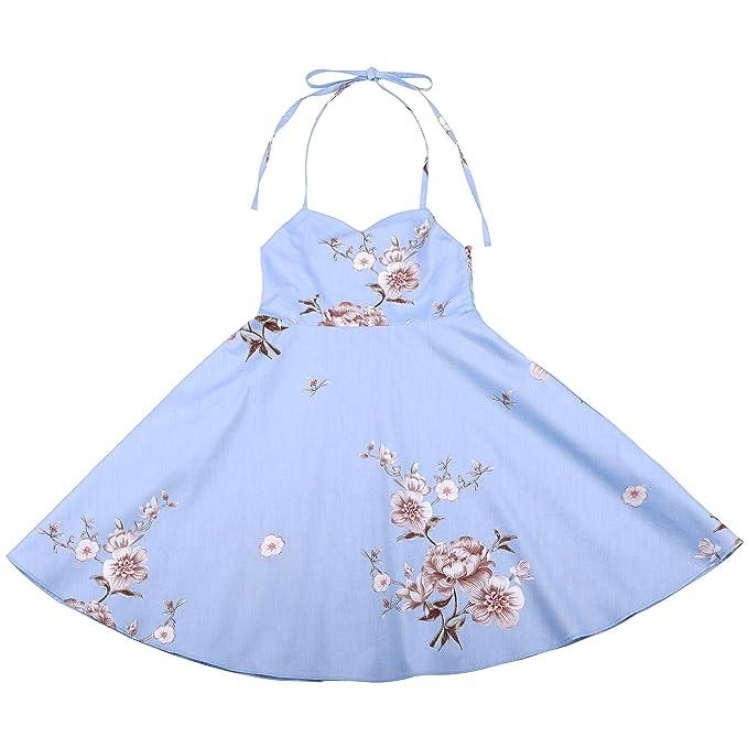 c8ad6f548 Flofallzique Wedding Party Baby Girls Dress Vintage Floral Sundress for  Toddlers(1,Light Blue