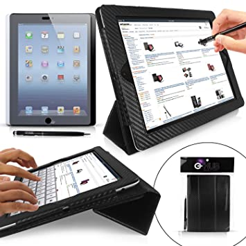 Case for iPad 4 / 3 / 2 - G-HUB GeniusCover BLACK Carbon Fibre ...