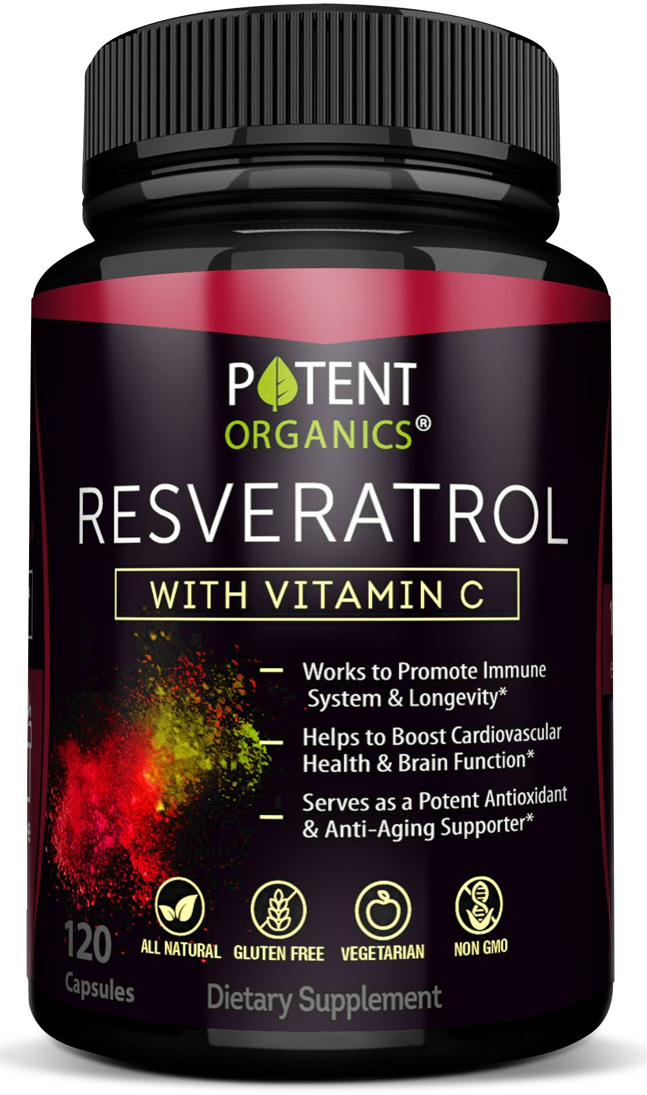 Extra Strong Resveratrol 1150mg - Anti-Aging Antioxidant Supplement - Promotes Immune & Cardiovascular Health - 120 Veggie Capsules with Trans Resveratrol, Vitamin C & Moringa - 100% Money Back by Potent Organics