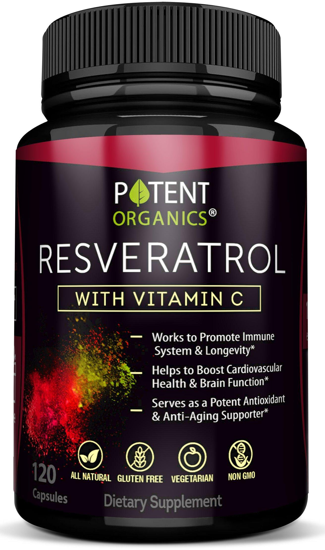 Extra Strong Resveratrol 1150mg - Anti-Aging Antioxidant Supplement - Promotes Immune & Cardiovascular Health - 120 Veggie Capsules with Trans Resveratrol, Vitamin C & Moringa - 100% Money Back