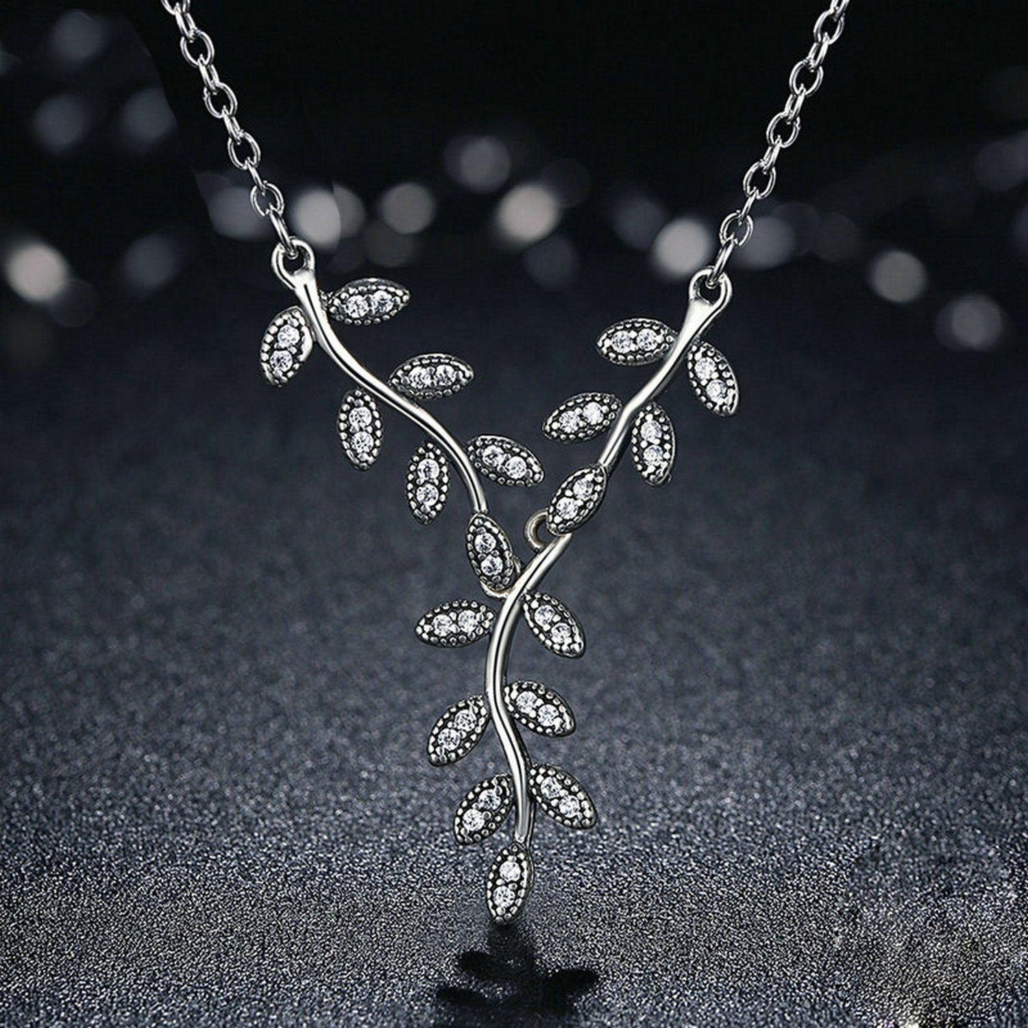 MMC Womens Necklaces Pendants Sparkling Leaves Long Silver Jewelry