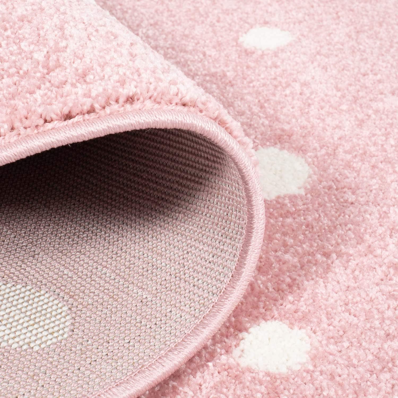 Gr/ö/ße in cm:80 x 150 cm Farbe:Beige MyShop24h Kinderteppich Teppich f/ür das Kinderzimmer Spielzimmer Pinguin Herz wei/ß gepunktet in Rosa Beige und Grau