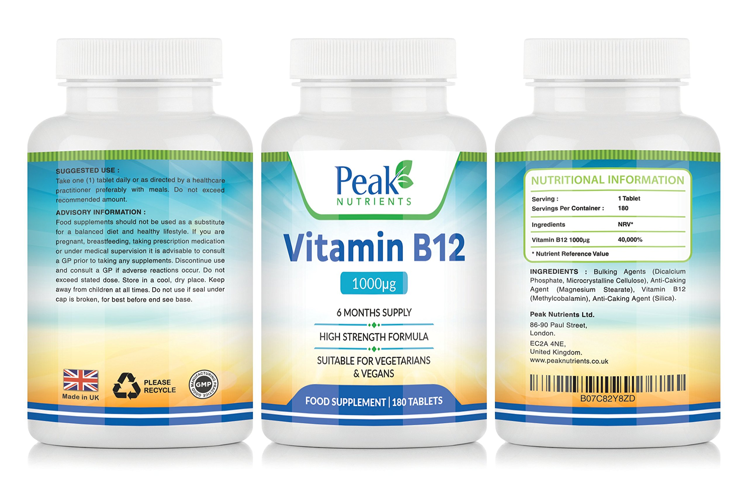 Vitamin B12 1000mcg 180 Tablets (6 Months Supply), Assists With The Immune System And Red Blood Cell Formation Improving General Tiredness And Fatigue.