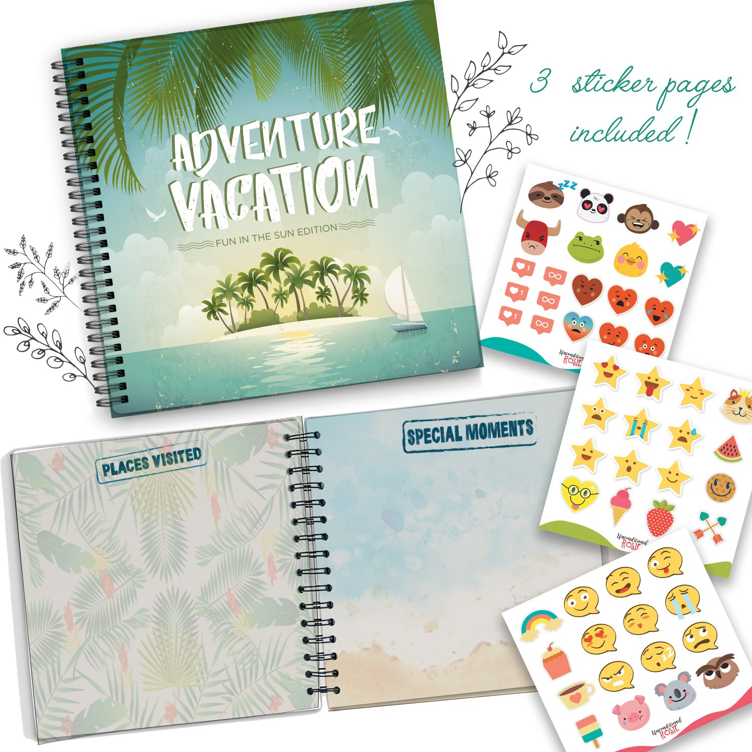 5 Second Hardcover Travel Journal Fun in The Sun Edition to Remember and Record All Your Memories and Photos in a Fun and Unique Way Memory Book and Photo Album - 24 Beautiful Pages and Stickers by Unconditional Rosie