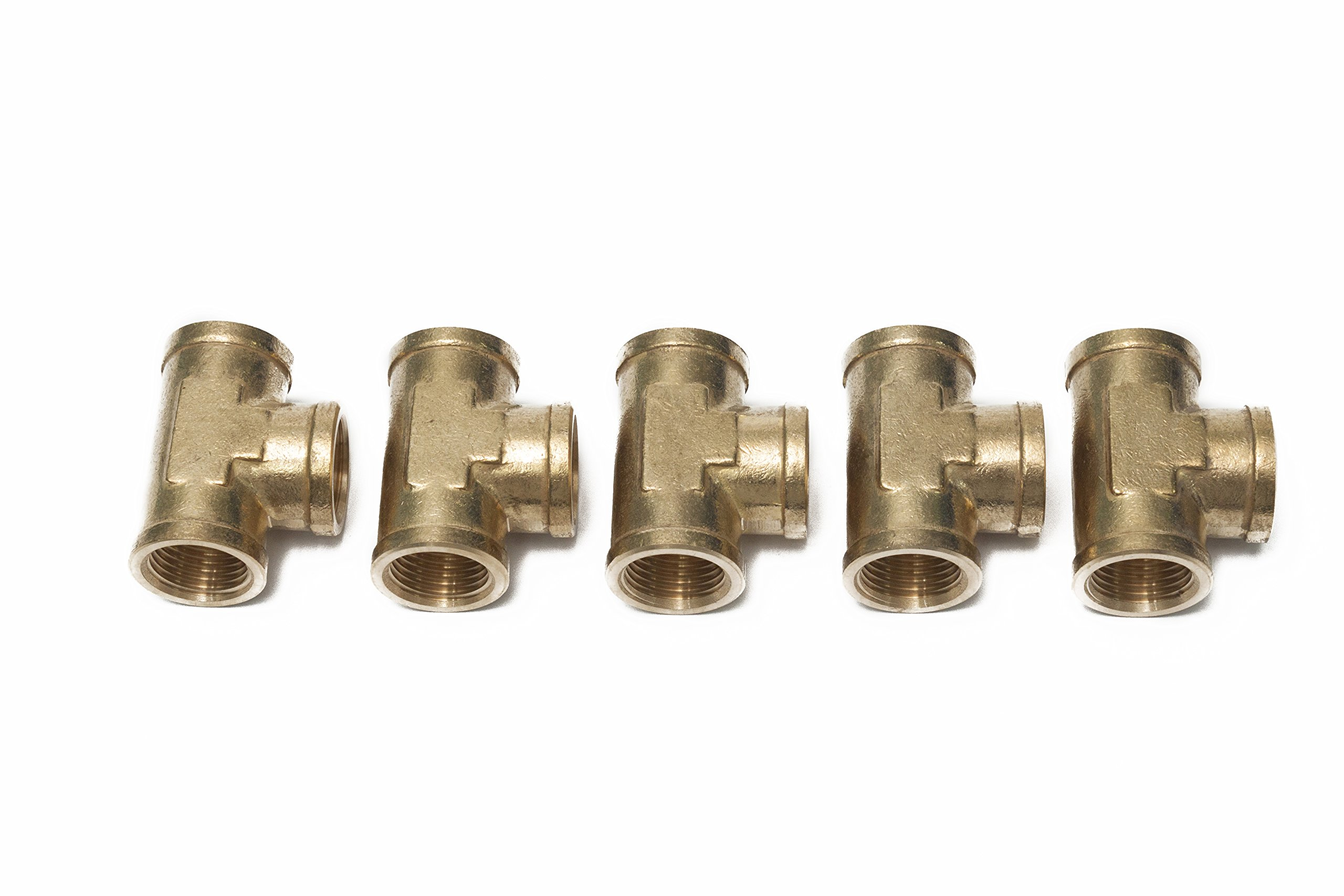Generic Brass Pipe Fitting 1/2'' Female NPT Thread Tee Fuel Air(Pack of 5)