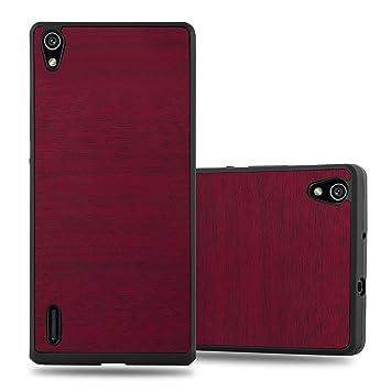 Cadorabo Funda para Huawei P7 en Woody Rojo - Cubierta Protecciónde Plástico Duro Super Delgada e Inflexible con Antichoque - Case Cover Carcasa ...