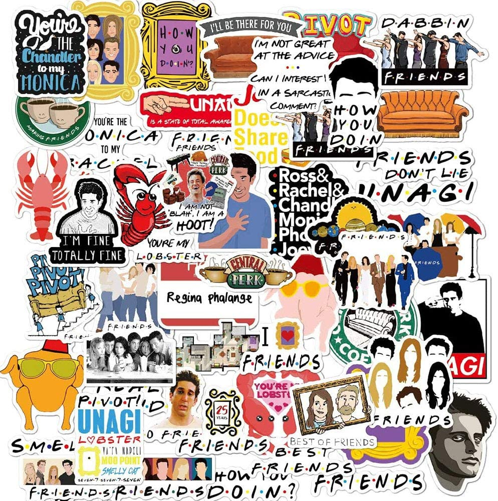 The Friends Stickers for Tv Show Merchandise(50pcs) Friends TV Show Merchandise Fans Stickers for Laptop Water Bottle Luggage Snowboard Bicycle Skateboard